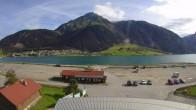 Archiv Foto Webcam Schöneben: Talstation der Bergbahn mit Blick auf Reschensee und Dorf Reschen 04:00