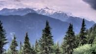 Blick auf den Mont Blanc vom Restaurant La Creusaz aus