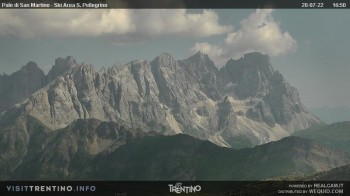 "Fassatal - San Pelegrino - Ankunft des Sesselliftes ""Cavia-Col Margherita"""