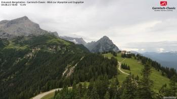 Kreuzeck Bergstation - Blick zur Alpspitze und Zugspitze