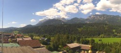 Panoramic view from hotel Herrschaftstaverne towards village Haus im Ennstal, Styria